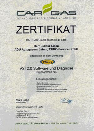 CarGas Zertfikat Prins VSI 2.0 Software und Diagnose
