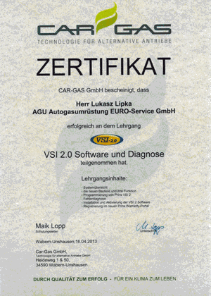 CarGas Zertfikat Prins VSI 2.0 Software und Diagnose