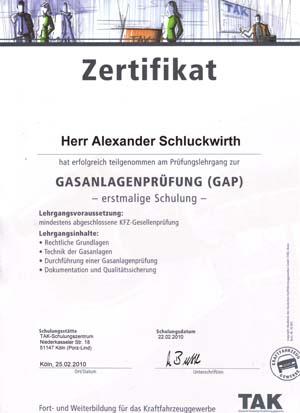 Zertifikat Gasanlangenprüfung